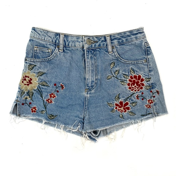 Topshop Pants - Topshop Floral Embroidered Distressed Mom Shorts 4